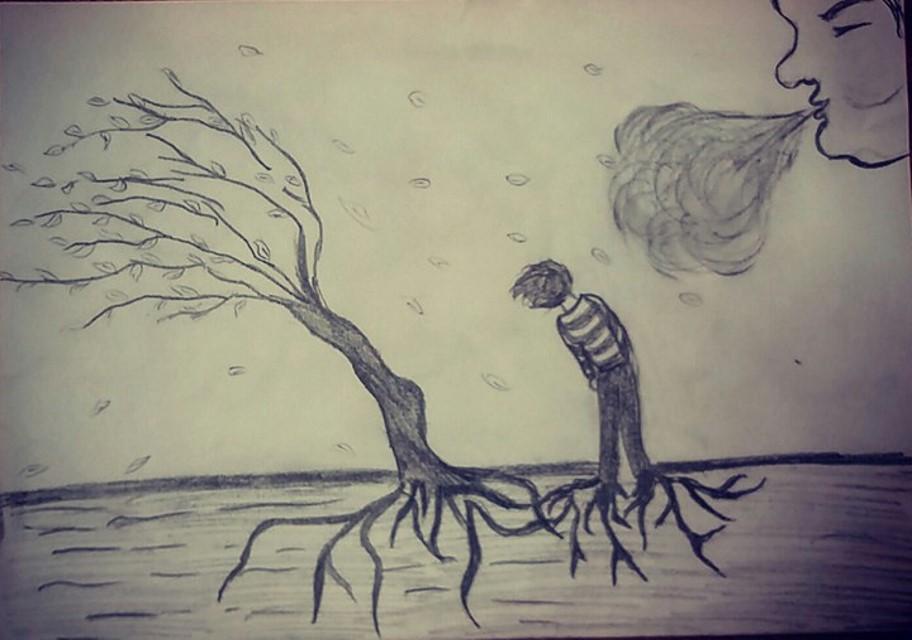 Copac și copil se înclină în bătaia vântului